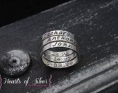 Handmade Sterling Silver Stackable Rings with Inside Stamping- Sterling Silver Rings- Personalized Rings- 3mm Hand Stamped Rings