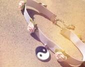 Baby pink floral white YIN YANG choker
