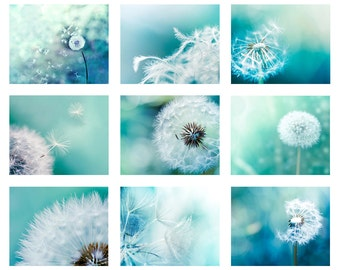 gallery wall print set dandelion decor set of 9 prints dandelion photography dandelion art nursery decor botanical prints teal blue aqua