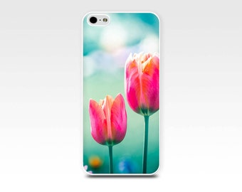 iphone 6 case floral iphone case 5s tulips iphone case 4s flower iphone case 5 girly iphone case 4 teal blue pink red botanical case nature