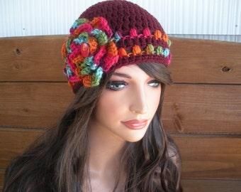 Women's Hat Crochet Hat Winter Fashion Accessories Women Beanie Hat Cloche in Merlot with Multicolor Stripes and Crochet flower