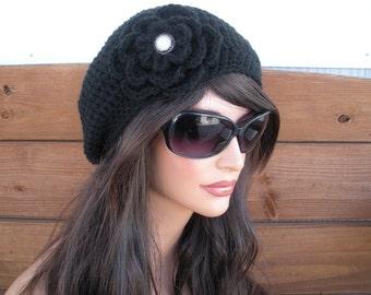 Womens Slouchy Hat Crochet Hat Winter Fashion Accessories Women Beanie Winter Hat in Black with Crochet Flower - Choose color