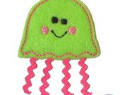 Jellyfish Applique on Lime Felt Embroidered Embellishment Clippie Cover SET of 4
