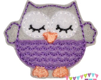 Sleepy Lil Owl - Grey with Purple Belly Felt Embroidered Embellishment Clippie Cover SET of 4