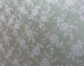 Vintage linen mattress ticking French ticking fabric green floral mattress toile damask roses, sewing patchwork supply textile French fabric