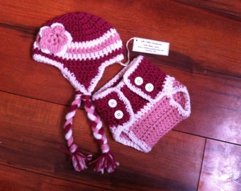 Newborn girl light pink, dark pink, and white photo prop crocheted 13 in. hat and diaper cover - IN STOCK