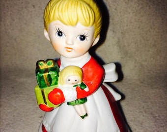 Homco Christmas girl figurine