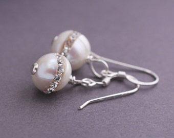 Pearl Bridesmaid Earrings, TWO Pairs of Earrings for Bridal Party