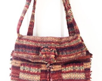 Upcycled felted wool handbag