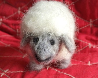 Needle felted white and gray sheep