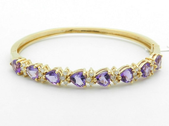 8.00 ct Heart Purple Amethyst and 1/2 ct Diamond Bangle Bracelet 14K Yellow Gold