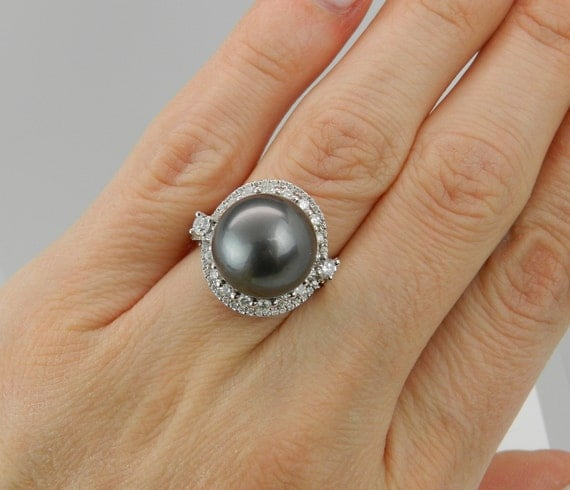 Tahitian Pearl Engagement Ring 18K White Gold .93 ct Diamond and 13mm Pearl Ring Size 6.5