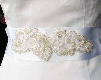 Bridal Sash Beaded White Satin Ribbon and Crystals, For Wedding or Special Occasions