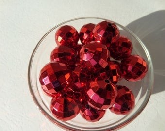 20mm, 10CT, Chunky faceted Red UV Plated beads, Acrylic Beads, E26