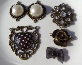Vintage Sweetheart Antique Bronze Charm Collection, 6 piece set, pendant, statement piece, necklace, jewelry making supplies