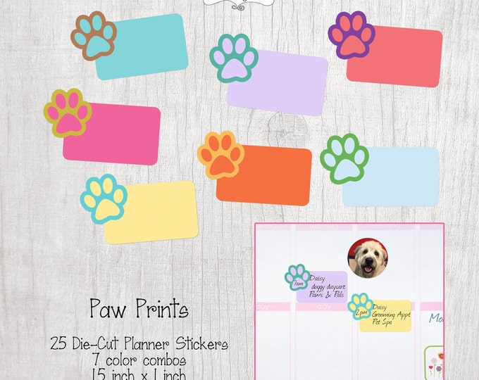 Sale! Planner Stickers- Paw Prints- Set of 25- Perfect for the Erin Condren Life Planner