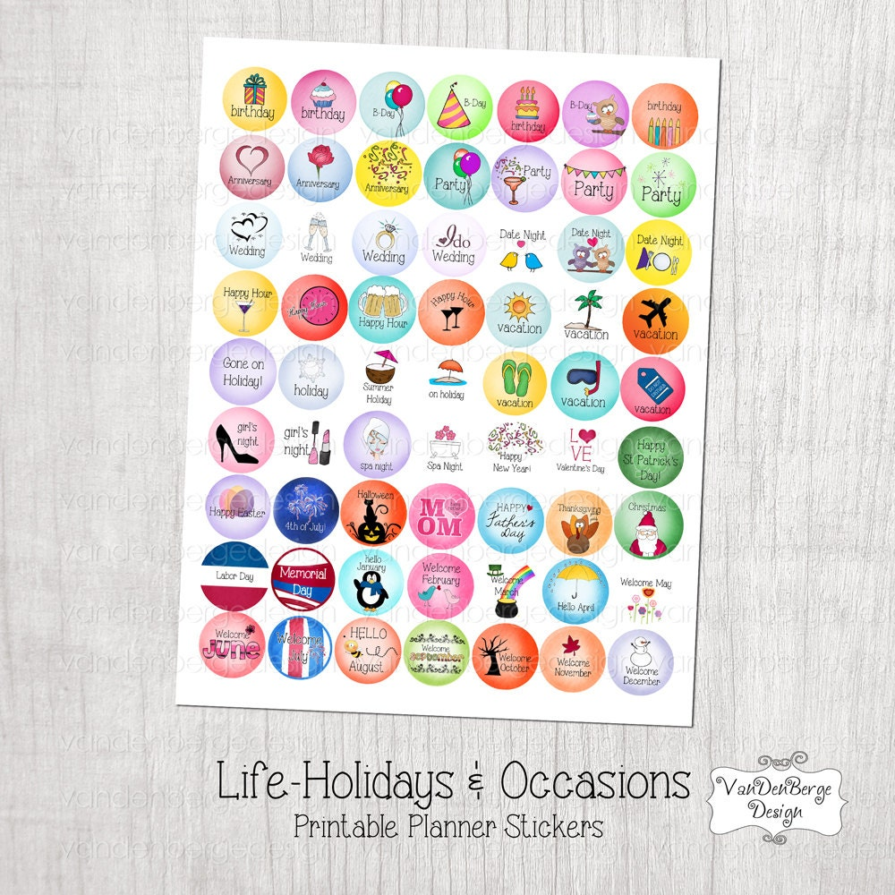 Calendar Planner Stickers : Printable planner calendar stickers life holidays occasions