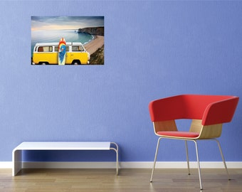 Hippie Van Surfboard Wall Decal - 20 inches x 40 inches