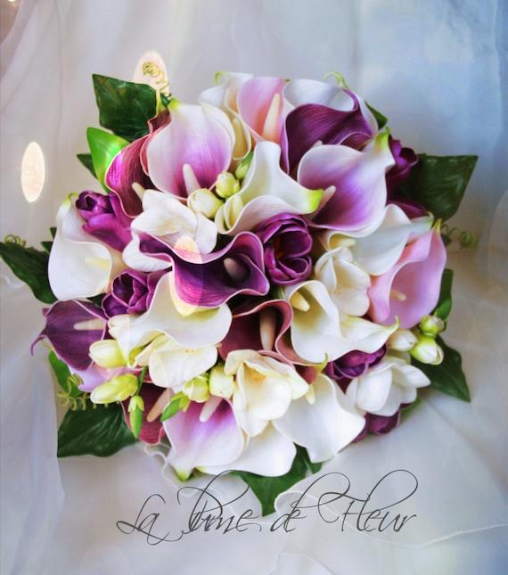 ... Calla-Lilien, Tulpen und Freesien in den Farben lila, rosa und weiß