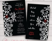 Shower, Wedding, Engagement, Coloring Party Invites. Floral, Spring,Hummingbird, Henna,Filigree, Black,White,Red. Printing/DIY/Samples avail