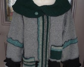 Recycled sweater cowl neck sweatshirt Katwise inspired Women's Medium M  grey green