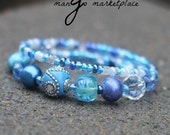 Look At Those Baby Blues - Wire Bangled Bracelet - Jamaica - Sky Blue, Crystal Blue - Layered