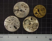 4 Vintage pocket watch movement brass and steel round plates with small gears and engraved patterns Steampunk Art Supplies 3522