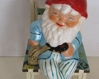 Sitting  Garden Gnome with Chair
