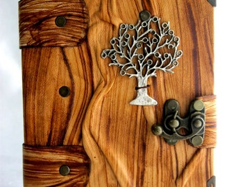 Discount %20 handmade vintage look blank leather journal notebook with tree emblem