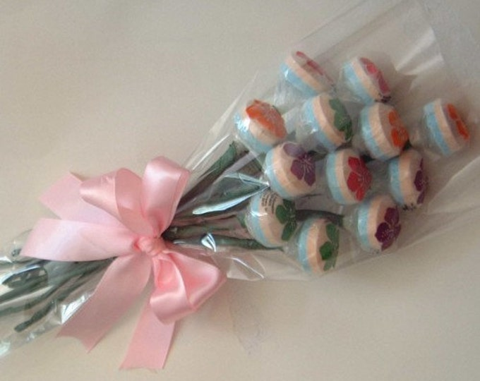 Candy bouquet - One Dozen Hibiscus Lollipops bundled in a bouquet