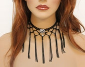 Black Fringe Necklace, Evening Necklace, Choker Necklace, Unique Necklace for Women
