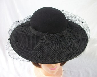 Vintage Black 100% Wool Hat ~ with Dot Netting ~ Chic Accessory ~ Georgi