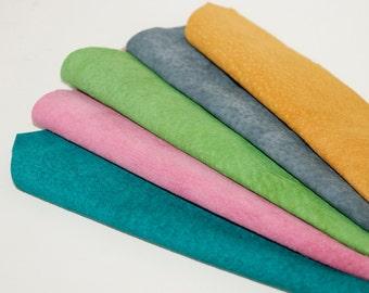 5pcs  Suede Leather Scrap  , Mixed Colors