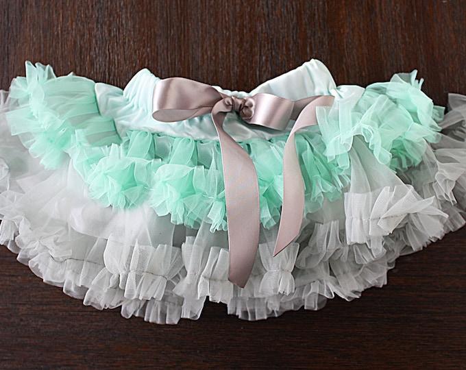 Pettiskirt, birthday skirt, cake smash skirt, tutu, ballerina tutu, ballet skirt, fluffy skirt, cupcake skirt, silver and aqua, grey skirt
