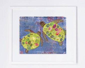 Turtles Whimsical Mixed Media Art