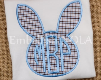 Easter Bunny Applique Shirt or Bodysuit Blue and Brown Check fabric