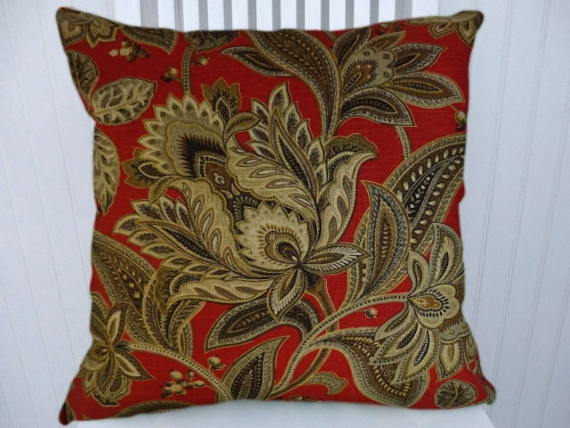 Red Gold Decorative Throw Pillow Cover 18x18 or 20x20 or