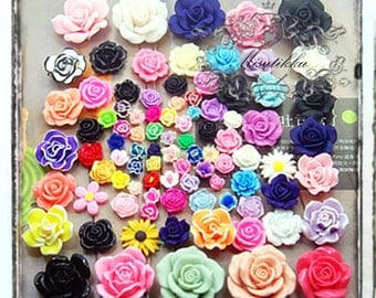 25/50/100 PCS Assorted Flower Cabochon Mixed Cabochon Polymer Clay Roses Daisy FlatbackMix Color diy Phone Case Deco kit Embellishment AK.FL