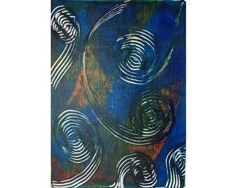 The Couple 1 Original Monoprint Abstract Acrylic Painting 5x7 Blue Orange White Swirls Spirals