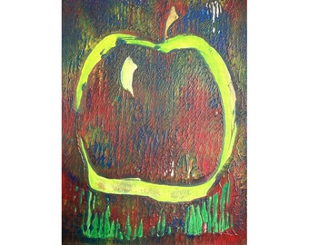 Apple 1/2 Original Monoprint Contemporary Abstract Acrylic Painting 5x7 White Red Blue Green Fruit Minimalist