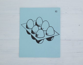 vintage french flash card - eggs