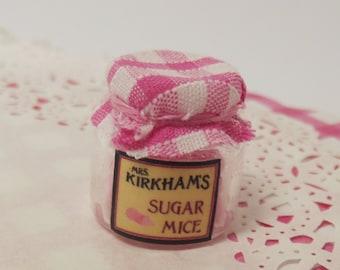 Dollhouse 1:12 Miniature Candy Shop Glass Jar of Handmade Sugar Mice