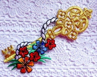 Iron On Patch Applique - Key & Flowers Garland