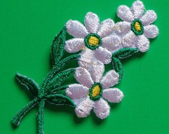 Iron On Patch Applique - White Flower Spray