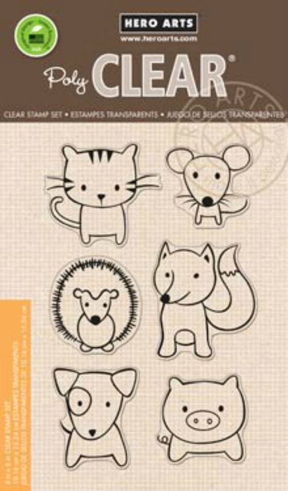 Hero Arts Playful Animals Cl832 Clear Stamps matches DI122 die