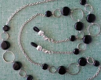 "Silver-toned Links and Black beads.   Beaded  eyeglass Holder,  Lanyard, 29"""