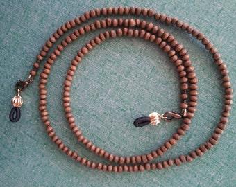 """Dark Brown Wood beads. Eyeglass Holder Lanyard. 27"""""""