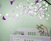 Cherry blossom wall decals  tree decals baby nursery kids flower floral nature  girl wall decor wall art- Cherry Blossom Tree branch