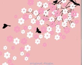 Vinyl wall decals Cherry blossom tree decals baby nursery kids flower floral nature white girl wall decor wall art- Cherry Blossom Tree