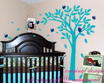 tree with birds decals  Kids wall decals  baby decal nursery decal room decor wall decor wall art-lovely tree with birds